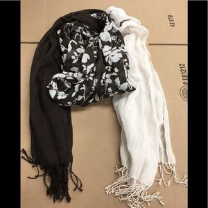 Brown and Beige Flowered Scarf